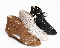 Wholesale Vintage Womens Shoe Rubbers - 2016 Retro womens vintage hollow out lace up peep toe low heel Roman fish head sandals shoes