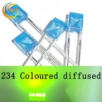 Wholesale White Diffused Blue Led - 234 led diode Square led bead Coloured Diffused Lightings Rectangle Diodes Utra Bright Red Green Blue Yellow White Warm white long lead