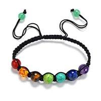 Wholesale Shamballa Tiger - JLN Multi Color Seven Charka Bracelet Yoga Healing Tiger Eye Lapis Amethyst Beads Handmade ShamBalla Adjustable Bracelet