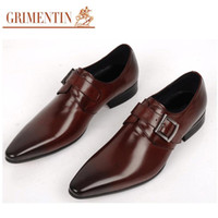 Wholesale Office Shoes For Men - Man dress shoes fashion Italian luxury casual mens shoes genuine leather black brown buckle design flats for men business size:6-10