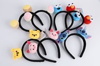 Wholesale Stitch Dolls For Sales - Hot Sale 7 Style 17*19cm Sesame Street Lilo & Stitch Girl Hair clasp Cartoon headdress Plush Doll hair band For party