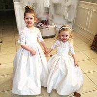 Wholesale Bow Knot Dress For Girls - 2017 Lovely A Line Flower Girls Dresses For Wedding Half Sleeve First Communion Gowns with Big Bow Knot Party Prom Dresses