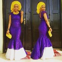 robes de soirée blanches pourpres achat en gros de-Robes de soirée nigérianes pourpre et blanc Mermaid Prom Party Robes manches Cap romantique personnalisé dentelle de haute qualité à bas prix