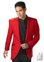 Wholesale Mens Red Vest Tie - 2016 Red Tuxedo Mens Suits Classic Fit Custom Made One Buttons High Quality Three Pieces Wedding Suit ((Jacket+Pant+Vest+Tie)