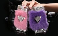 Wholesale fox rabbit hair for sale - Luxury Fox Head Rabbit Fur Hair Bling Diamond Leather Flip Wallet Stand Card Slots Case for iPhone S Plus Samsung Galaxy S5 S6 S7 Edge