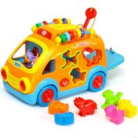 Wholesale Toy Cars Play Music - 2016 new free shipping,intelligence Cartoon animal bus, electric music multifunction baby toy car Learning Toys