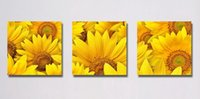Wholesale Morden Wall Painting - Morden Sunflower Flowers Abstract Floral Painting Print On Canvas Home Wall Decor Set30046