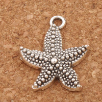 Dots Big Starfish Sea Star Spacer Charm Beads 120pcs / lot 19x22.5mm Antique Pendentifs en argent Alliage Bijoux faits à la main DIY L090