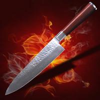 mejores cuchillos afilados al por mayor-La mejor calidad VG10 Acero inoxidable japonés de alto carbono, 67 capas de hoja de Damasco, Cuchillo de cocina profesional Gyutou, Cubiertos afilados, Ergonomi