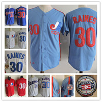 Mens cucito Tim Raines Montreal Expos 1994 Throwback Vintage Jersey Bianco blu 30 Tim Raines Expos 2017 Patchwork HF baseball Jersey S-3XL
