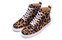 Wholesale Spotted Cotton Fabric - 2017 Luxury Designer Spotted leopard print decoration High help Brand Comfortable Casual Shoes Spikes Red Bottoms Sneakers size 36-46