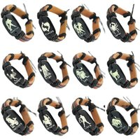 Wholesale Pisces Gifts - Leather Bracelet Mix 12 Styles Twelve Constellations The Zodiac Aries Taurus Gemini Cancer Leo Virgo Libra Scorpio Aquarius Pisces (DJ663A)