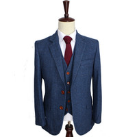 Wholesale Men Stripe Jacket Blazer - Wool Blue Herringbone Retro gentleman style custom made Men's suits tailor suit Blazer suits for men 3 piece (Jacket+Pants+Vest)
