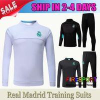 Wholesale Gold Red Suit Spandex - 2017 New Survetement Real Madrid Soccer Training Suits Uniforms Shirts Football Samiseta De Futbol Ronaldo Long Sleeve Chandal tracksuits