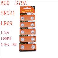 Wholesale Lr521 Button Cell - AG0 379A SR521 LR521 LR69 1.55V 120MAH 5.8*2.1mm Zn MnO2 watch Wholesale ce Electronic Alkaline button battery 10 PCS tianqiu