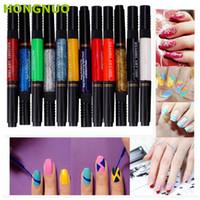 Wholesale Nail Polish Set Two Way - Wholesale- New Arrival 12 Color Two-way Nail Art Polish Brush Pen Set Nail Drawing Painting Dotting DIY Tool U0313