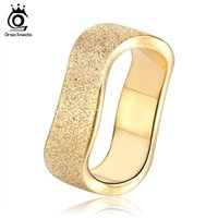Wholesale Rings 11 Titanium - Top Grade 18K Gold Plated Stainless Steel Rings Frosted Style Irregular Finger Ring Men Women US Size 5 -11 GTR11