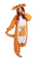 heiße kigurumi großhandel-Heißer Verkauf Schöne Günstige Känguru Kigurumi Pyjamas Anime Pyjamas Cosplay Kostüm Erwachsene Unisex Onesie Kleid Nachtwäsche Halloween S M L XL