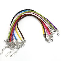 Wholesale Mix Color Braided Leather Bracelet - Wholesale-Mixed Color Braided Cow Leather Bracelet Cord Bracelets fit Charm Bracelet Jewelry Making Wristband DIY Handmade 18cm 10pcs lot