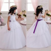 Wholesale Charm Fur Vest - Beaded Flowers Sash Bow V-neck Flower Girls' Dresses White Organza Charming Junior Girls' Formal Gowns Pageant Bridesmaid Dress