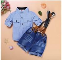 Wholesale Boys Designer Shorts - 2016 Toddler boys summer Boutique Suspender Outfit Striped Short Pants Kids Designer Formal Clothing Boys Suit Shorts Sets