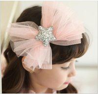Wholesale Sequined Hair Bows - Christmas Kids Girls Lace Bow Hair Sticks 2016 Baby Girls Sequined Stars Princess Headbands Girl Korean Hair Accessories