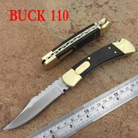 Wholesale Buck Hunting - high-end Buck 110 Double auto Folding knives Outdoor camping survival pocket EDC folding folding knife gift collection
