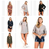 T Shirts Frauen Baggy Shirts Langarm Unregelmäßige Mode Lose Bluse Casual Sexy Tees Damenbekleidung Bluse Top T-shirt Kleid KKA3364