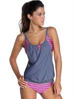 Wholesale Green Stripe Bikini - 2016 European Summer New Pattern Foreign Trade Sexy Bikini Stripe Camisole Fission Swimming Suit Swimwear Vent