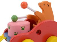 Wholesale Wooden Carts - New baby wooden noise maker toys bear drums toddler animal cart high quality infant gifts learning walk pull push toy for toddler