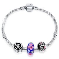 Wholesale Snake Chain Fit Murano Beads - Five Styles European Beads Snake Chain Fit Pandora Bracelet Murano Glass Charms Bracelet Vintage Bracelets For Women