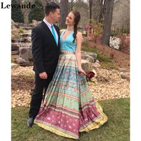 Wholesale Multicolored Skirt - Halter V Neck Satin Floral Printed 2 Piece Prom Homecoming Dress Long Open Back Evening Gown A-line Multicolored Skirt Pockets Lewande 50792