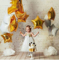 Wholesale Mix Foil Balloon - Mixed 1pcs 18 inch white gold star foil Helium balloons Metallic pure color globos Wedding birthday party decoration supplies
