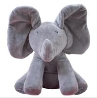 Wholesale play plush - New Style Peek A Boo Elephant Stuffed Animals & Plush Elephant Doll Play Music Elephant Educational Anti-stress Toy For Children