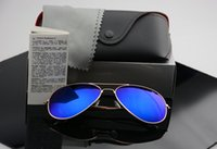Wholesale Designer Sunglasses Men Blue - High quality Brand Designer Fashion Mirror Men Women Polit Polarized Sunglasses UV400 Vintage Sport Sun glasses With box and cases