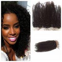 Wholesale bleached way part human hair resale online - Human Hair Brazilian Hair Closure Lace Closure Kinky Curly Front x4 Middle Way Part Bleached Knots Kinky Curl Top Closure G EASY Hair