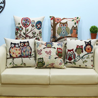 Wholesale Wholesale Owl Pillow - The owl pillow high-grade yarn-dyed jacquard cotton and linen pillow car cushion for leaning on the head of a bed cushion