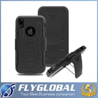 Wholesale Dual Layer Holster Case - Armor Hybrid Dual Layer Holster Case for iPhone X 8Plus 7 6s Kickstand &Locking Belt Clip Cover For Samsung S8 Plus S7 S6 S5 Note8 Note5