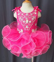 Wholesale Cheap Infant Gowns - Scoop bow beads band made flower fuchsia backless cheap cupcake little girls pageant dresses kids toddler glitz prom Infant ball gowns
