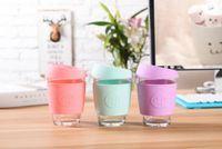 Wholesale Print Coffee Mugs - 100Pcs Candy color smile Glass Safe coffee cup Coffee JOCO design smile print Mugs Travel reusable glass cup 15 color