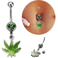 Wholesale Wholesale Stainless Steel Pots - 2016 New Arrival Green Leaves Piercing Belly Button Rings Pot Leaf Dangle Piercing Navel Ring Belly Button Piercing Jewelry