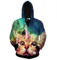 Wholesale Galaxy Print Hoodie Womens - Fall-New Fashion Harajuku Style Mens Womens 3D Jacket Tracksuits Creative Cat Galaxy Printed 3D Outerwears Sweatshirts Hoodies Coats