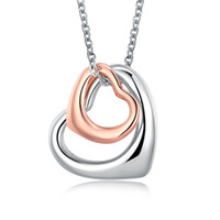 Wholesale Heart Shaped Platinum Pendant - Women Heart Shape Pendants Necklace Rose Gold Plated Platinum Romantic harm Jewelry Chain 18 inch AKN005