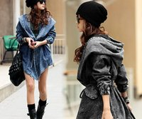 Wholesale Denim Trench Coat Jean Hoodie - 2016 Fashion Women Lady Denim Trench Coat Hoodie Hooded Outerwear Jean Jacket Plus Size Light Blue Sexy Women's Fashion Cool