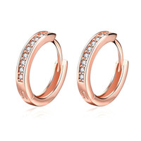 Wholesale 14k Yellow Gold Huggie Earrings - Channel Setting 1 Row of Brilliant Cut Zircon Earring Europe and United States Popular Yellow Gold Plated and Rose Gold Zircon Earrings Hoop
