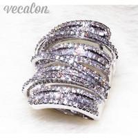 diamantes antiguos al por mayor-Vecalon Antique Big ring Mujeres Hombres Joyería 20ct Diamante simulado Cz 925 Sterling Silver Wedding Band anillo de compromiso para las mujeres
