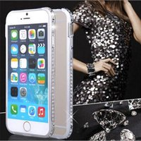 Wholesale Iphone Border Cases - Wholesale Hot Saler Luxury Border Water Diamond High Quality Metal Frame Protective Phone Case for iphone 5 SE 6 6 Plus