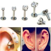 barras para los labios al por mayor-Pendientes para mujer Barras Piercing Gem Ronda Tragus Lip Ring Monroe Ear Cartilage Stud Earring