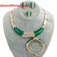 Wholesale Diamond South Africa - 18K Western Africa White Crystal Green Gold Plated Jewelry Sets Necklace Braceletes Earing Ring Hot Sale Fahion Jewelry Sets For Women QW-20