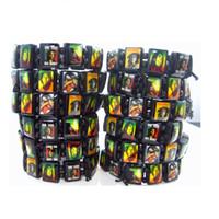 Wholesale Marley Wood - brand new 24PCs Bob Marley Rasta Jamaica Reggae Black Wooden Stretch Cuff Bracelets wholesale mixed lots